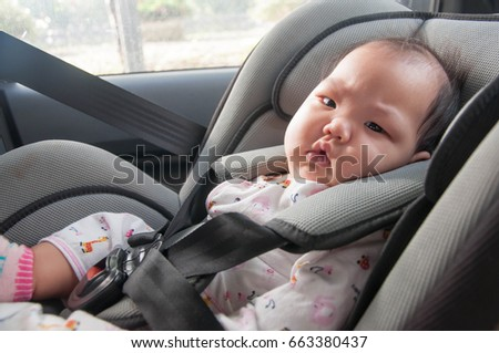On The Car Children Sleeping In Seats Baby Sitting A Seat