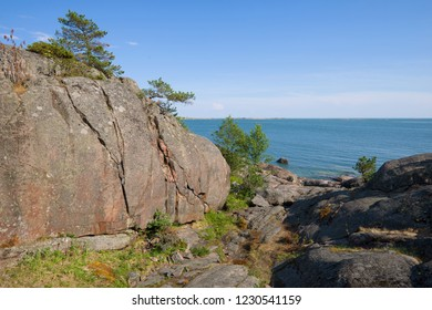 On the cliffs of the Hanko Peninsula on a sunny July day. Finland