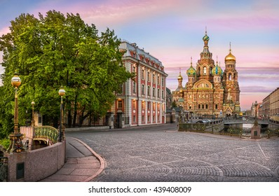 On a cobblestone street near the Cathedral of the Savior on Spilled Blood in a rose morning
