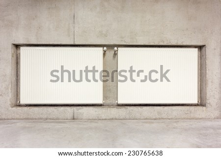 On Concrete Wall Hang Two Radiator Stock Photo Edit Now 230765638