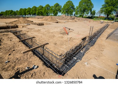 on a construction site, a foundation is laid
