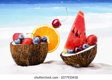 on the coral beach, a coconut contains fresh fruit