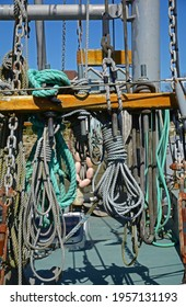 On deck fishing boat storage for moorage rope.