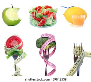 """""""on diet"""" set on white background"""