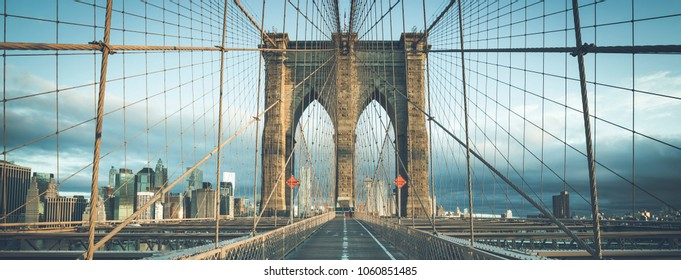 On the famous Brooklyn Bridge in the morning, NYC.