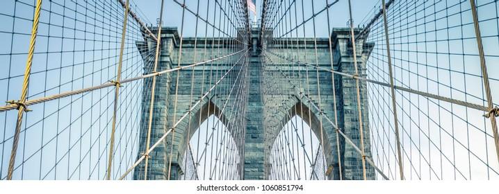 On the famous Brooklyn Bridge, NYC.
