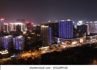 On February 2, 2018, a bird's eye view of xi 'an high-tech zone, city night view is very charming.
