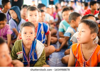 On February 4, 2020, the smiling Karen children at Banbongtilang School.This Thai government elementary school was located on Bong Ti,Sai Yok ,Kanchanburi,Thailand,western border to Myanmar.