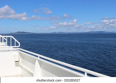 On a ferry in Norway, Europe. The ship is passing the Fjord Boknafjorden.