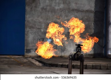 On fire with gas leak from pipe and valv.Flame from Gas leak.fire fighting with fire extingguishers and fire hose.Fighters in Action at Gas and training