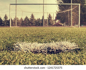 On football soccer field. Goal soccer field. Soccer football net background over green grass or soccer field