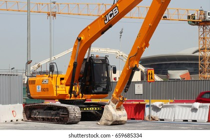 On going construction works in Doha Qatar - June 14, 2017: heavy equipment