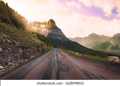 On the Going to the Sun Road in Montana, with bright sunlight streaming through the trees