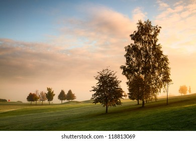 On the golf course in autumn in the mist in Prague