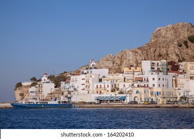 on the harbor of Pigadia on the island of Karpathos, Greece