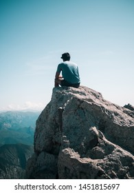 On the highest rock of the top of Pedraforca, in Catalonia.