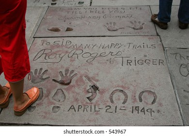 On Hollywood Boulevard, signatures and prints of Roy Rogers and Trigger.