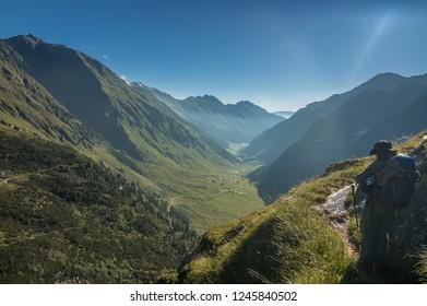 On Hut to Hut trek from Franz Senn refuge to Neue Regensburger refuge, above Oberbergtal valley and Neustift village in the Stubai Alps, Austria