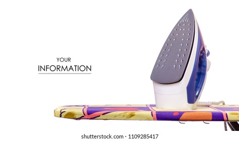 On an ironing board iron with laundry clothes pattern on a white background isolation
