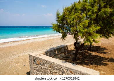 On the island of Rhodes in Greece, Europe, the water of sea has a blue azure and turquoise tint.