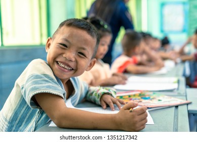 On January 15, 2019, Karen children are studying in classroom at Banbongtilang School.This Thai government school was located on Bong Ti,Sai Yok ,Kanchanburi,Thailand,western border to Myanmar.