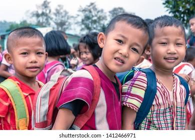 On January 15, 2019, Karen children at Banbongtilang School.This Thai government school was located on Bong Ti,Sai Yok ,Kanchanburi,Thailand,western border to Myanmar.