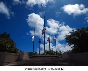 On July 15, 2013, flagpoles of American Memorial Park in Saipan.