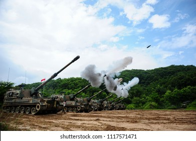 On June 24, 2016, the Republic of Korea army was conducted a K-9 self-propelled gun firing drill at the near DMZ in Cheolwon, Gyeonggi-do Province , South Korea,