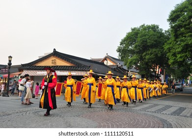 On June 8, 2018, Jeonju hanok village traditional band parade through the streets of Korean traditional house village in Jeonju,South Korea.