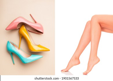 On the left is a picture of a woman who does not wear shoes on a white background, on the left is a picture of pink, yellow, green high heels suitable for use in fashion media, advertising, women.