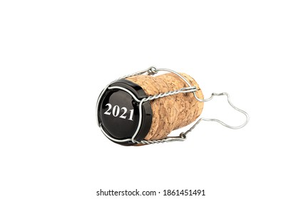 On the lid with muselet, the numbers 2021. Champagne cork with muselet on a white background. Close up. Copy space.