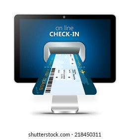 on line check-in with printed boarding pass on monitor screen isolated over white background