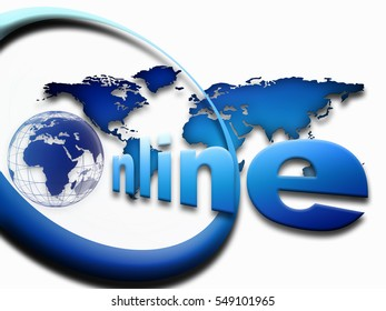 On line illustration with globe