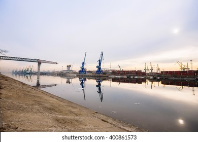 On March 29, 2016.The sea cargo cranes in the port of Saint-Petersburg on Kanonersky island.Russia.