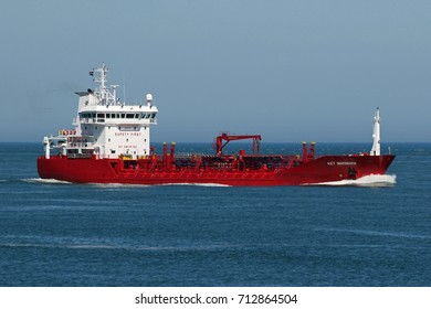 On May 26, 2017, the tanker Key Marmara enters the port of Rotterdam.