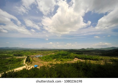 On May 27, 2011 The Landscape of the Korean demilitarized zone View from the Cheolwon Peace Observatory in Cheolwon, South Korea.