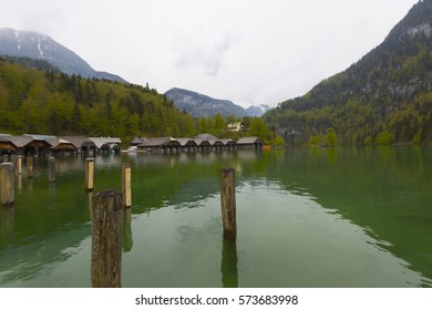 On the Königssee may only drive electric boats; in the background is the pilgrim chapel of St. Bartholomew and the Watzmann massif With the electric boat on Königssee