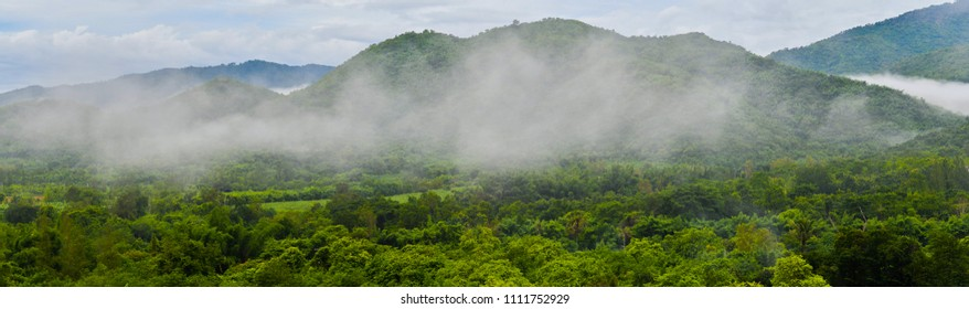 On the morning panorama mountain image of tropical forest At Suan Phueng District Ratchaburi Province Thailand.