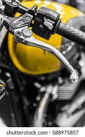 on a motorcycle steering, detail