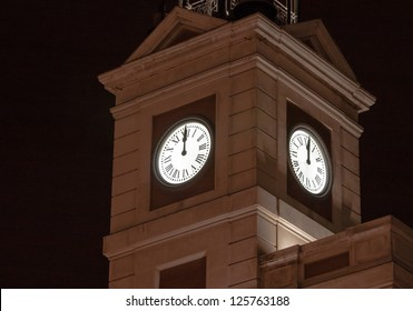 On New Year�´s Eve, this clock tower is traditionally shown on Spanish television to count down to the new year. It is located on Puerta del Sol in Madrid.