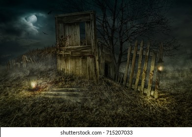 On the night of the full moon, the Dark Witch lures the lost travelers to his house.  Title - House of the Dark Witch.