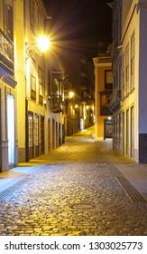 On the night road in Santa Cruz de La Palma, Canary Islands