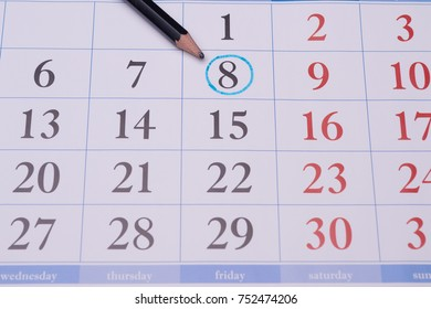 on the official calendar, the eighth number circled in blue circle