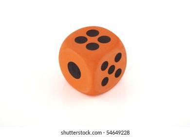 On orange dice on a white background.