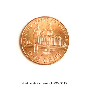 On a photo Lincoln Penny on white background