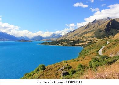 on the road beside the Lake Wakatipu, Queenstown, New Zealand