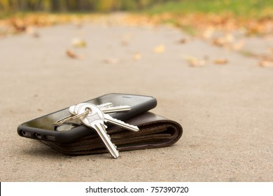On the road lie the lost phone, keys and wallet. Copy space for text