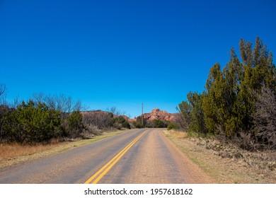 On the road at Palo Duro Canyon, Amarillo, Texas