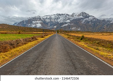 On the road in the Peruvian Andes mountain range with snowcapped peaks in the region of the Colca Canyon near Arequipa, Peru, South America.