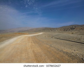 On the road through the Hajjar mountains in UAE. Deserted nature of the Middle East